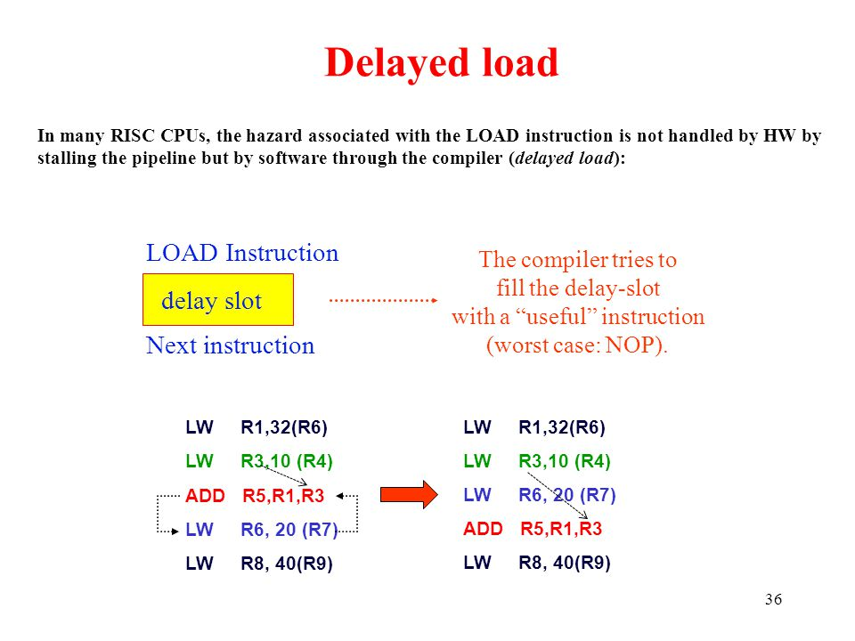 36 Delayed load In many RISC CPUs, the hazard associated with the LOAD instruction is not handled by HW by stalling the pipeline but by software throu