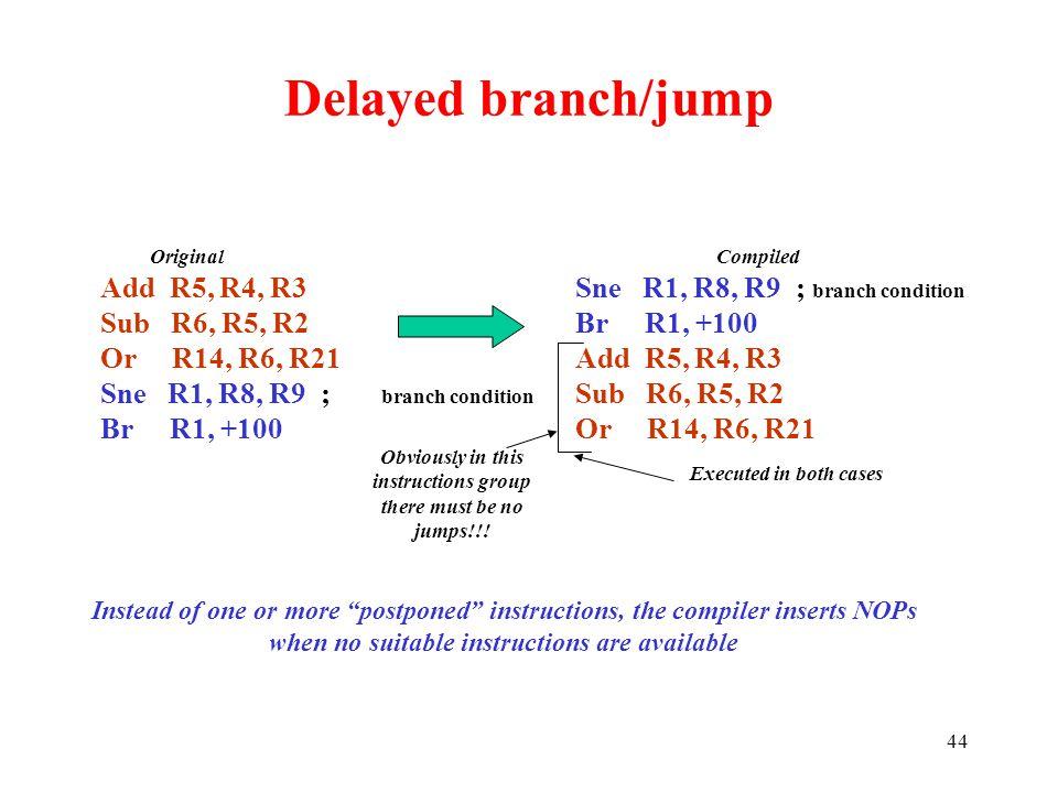 44 Delayed branch/jump Add R5, R4, R3 Sub R6, R5, R2 Or R14, R6, R21 Sne R1, R8, R9 ; branch condition Br R1, +100 Sne R1, R8, R9 ; branch condition B