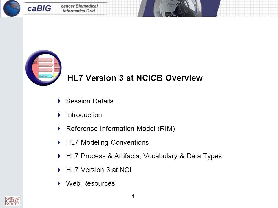 1 HL7 Version 3 at NCICB Overview  Session Details  Introduction  Reference Information Model (RIM)  HL7 Modeling Conventions  HL7 Process & Arti