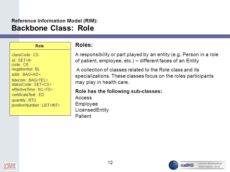 12 Reference Information Model (RIM): Backbone Class: Role Role classCode : CS id : SET code : CE negationInd : BL addr : BAG telecom : BAG statusCode