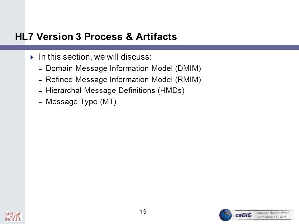 19 HL7 Version 3 Process & Artifacts  In this section, we will discuss: – Domain Message Information Model (DMIM) – Refined Message Information Model