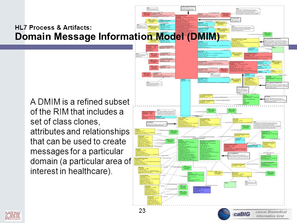 23 HL7 Process & Artifacts: Domain Message Information Model (DMIM) A DMIM is a refined subset of the RIM that includes a set of class clones, attribu