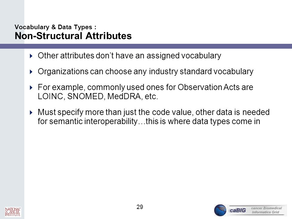 29 Vocabulary & Data Types : Non-Structural Attributes  Other attributes don't have an assigned vocabulary  Organizations can choose any industry st