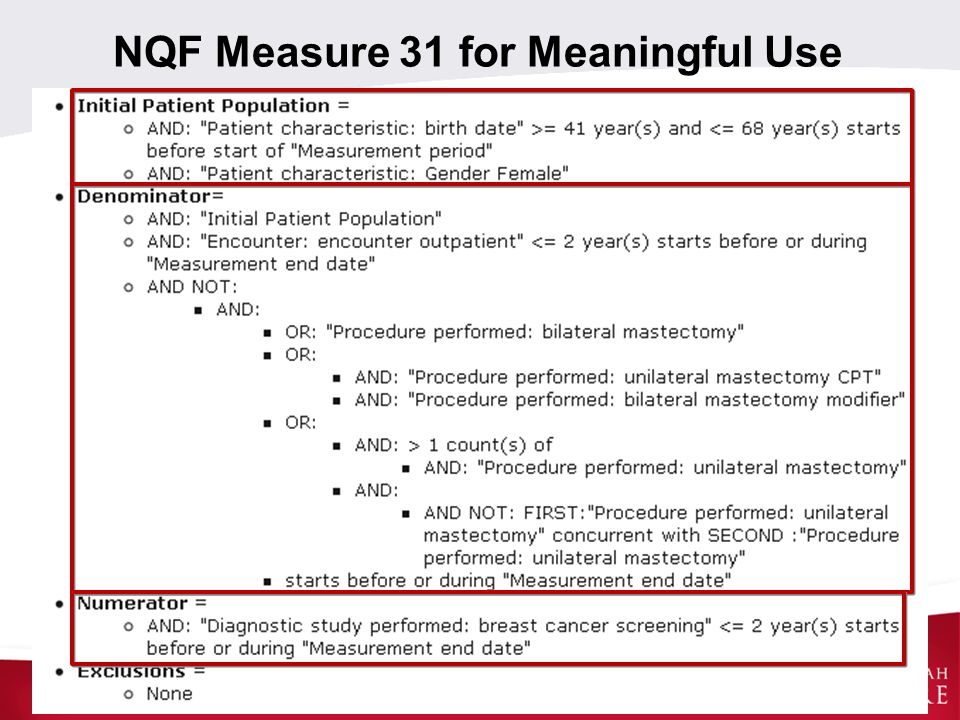 NQF Measure 31 for Meaningful Use