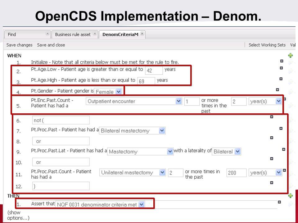 OpenCDS Implementation – Denom.