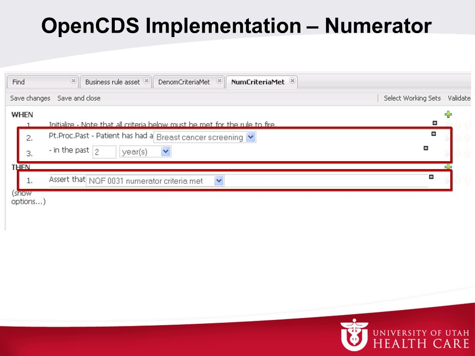 OpenCDS Implementation – Numerator