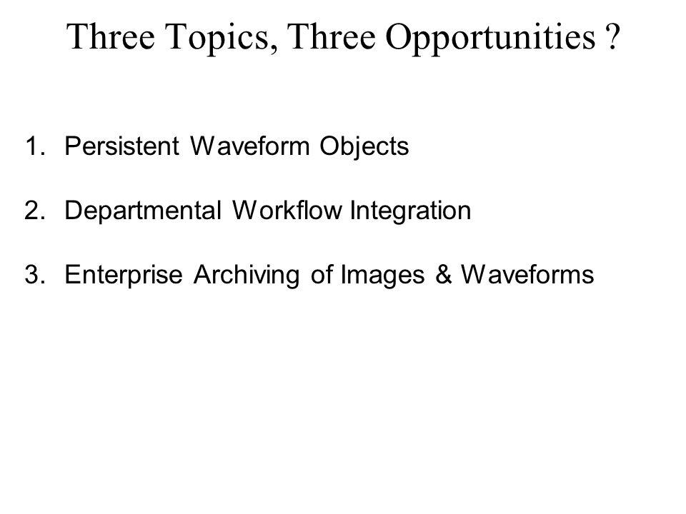 Three Topics, Three Opportunities .