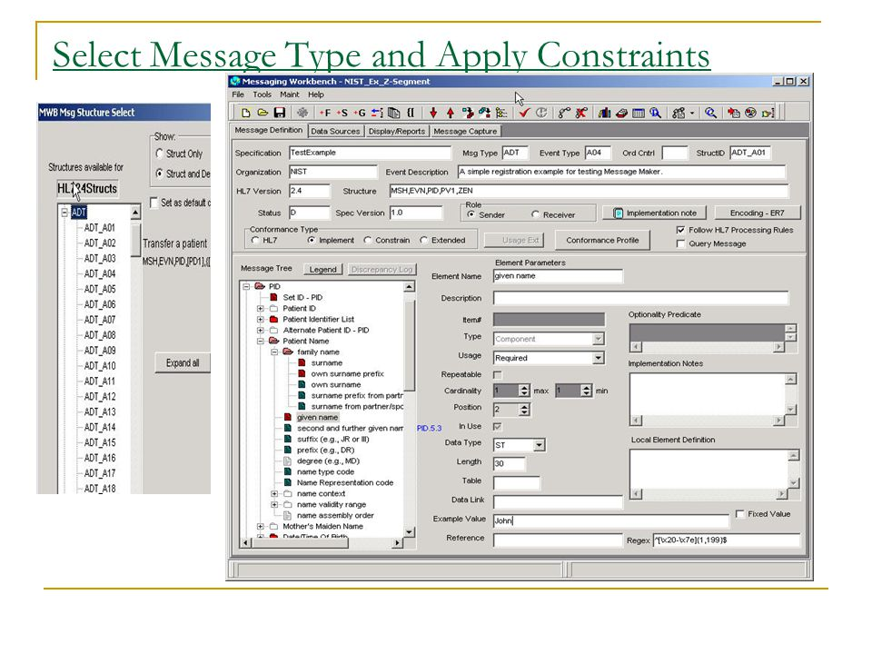 Select Message Type and Apply Constraints