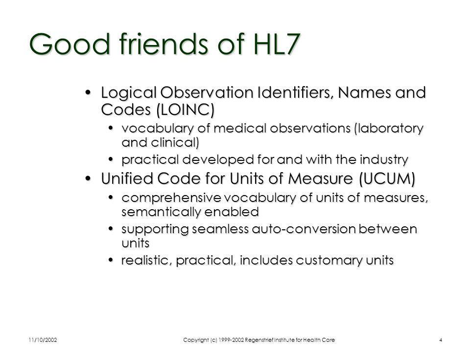 11/10/2002Copyright (c) 1999-2002 Regenstrief Institute for Health Care25 Take-Home Points Data integration problem is not technological but conceptualData integration problem is not technological but conceptual Making a special XML schema is easyMaking a special XML schema is easy With HL7 you think integrated across specialty applicationsWith HL7 you think integrated across specialty applications Unlikely that clinical research needs require special technologyUnlikely that clinical research needs require special technology The general model facilitates harmonization and interoperabilityThe general model facilitates harmonization and interoperability HL7 has what it takes, work with itHL7 has what it takes, work with it