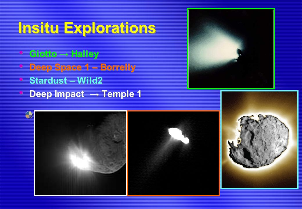 Insitu Explorations Giotto → Halley Deep Space 1 – Borrelly Stardust – Wild2 Deep Impact → Temple 1 Giotto → Halley Deep Space 1 – Borrelly Stardust –