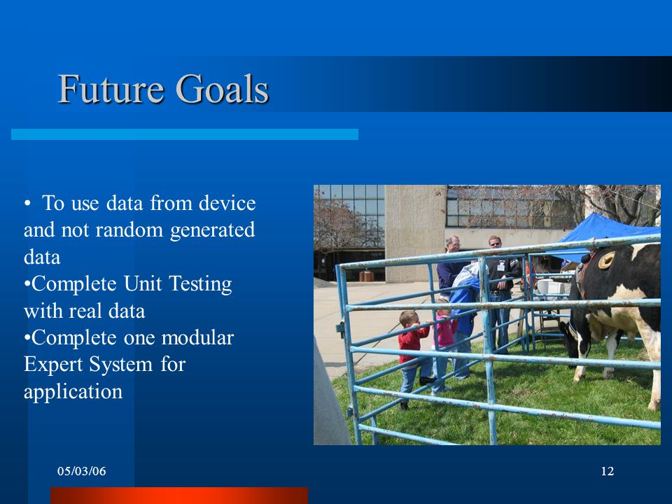 05/03/0612 Future Goals To use data from device and not random generated data Complete Unit Testing with real data Complete one modular Expert System for application