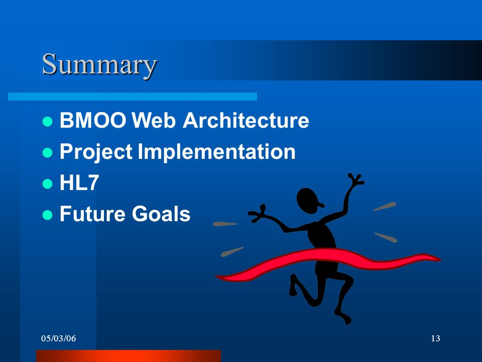 05/03/0613 Summary BMOO Web Architecture Project Implementation HL7 Future Goals