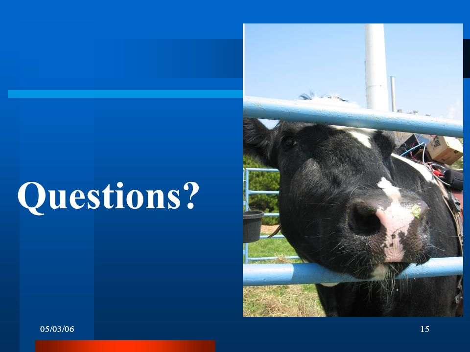 05/03/0615 Questions?