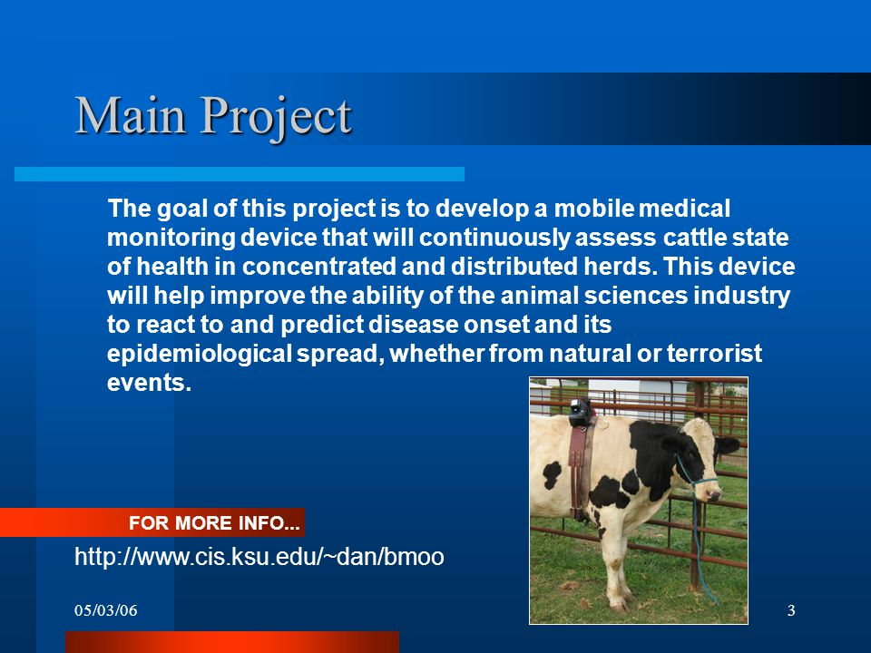 05/03/063 Main Project The goal of this project is to develop a mobile medical monitoring device that will continuously assess cattle state of health in concentrated and distributed herds.
