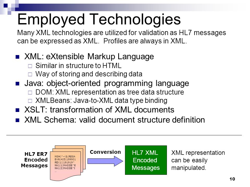 10 Employed Technologies XML: eXtensible Markup Language  Similar in structure to HTML  Way of storing and describing data Java: object-oriented programming language  DOM: XML representation as tree data structure  XMLBeans: Java-to-XML data type binding XSLT: transformation of XML documents XML Schema: valid document structure definition Many XML technologies are utilized for validation as HL7 messages can be expressed as XML.