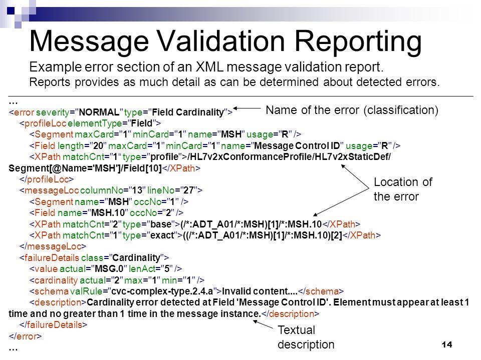14 … /HL7v2xConformanceProfile/HL7v2xStaticDef/ Segment[@Name= MSH ]/Field[10] (/*:ADT_A01/*:MSH)[1]/*:MSH.10 ((/*:ADT_A01/*:MSH)[1]/*:MSH.10)[2] Invalid content....