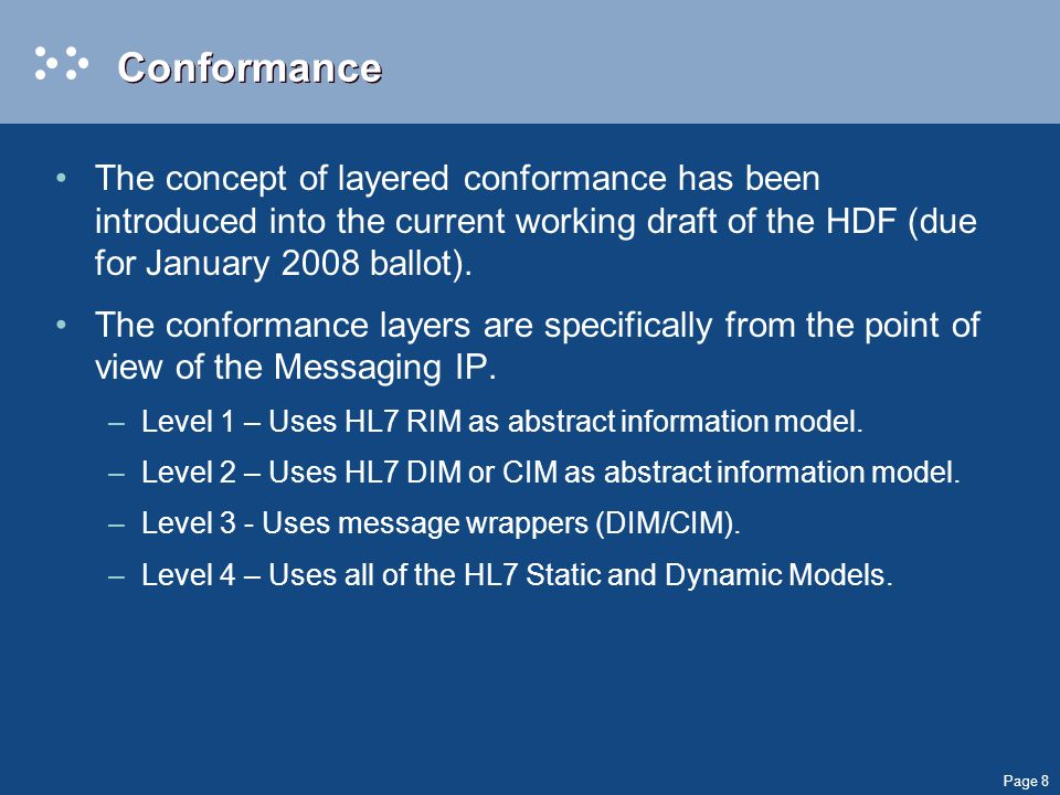 Page 9 Conformance Levels per IP LevelMessaging (proposed, additive) Documents (actual, additive) Services (proposed) 1Uses HL7 RIM as abstract information model.