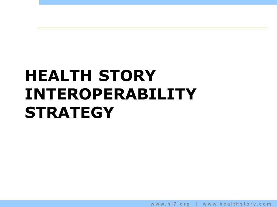 www.hl7.org | www.healthstory.com HEALTH STORY INTEROPERABILITY STRATEGY