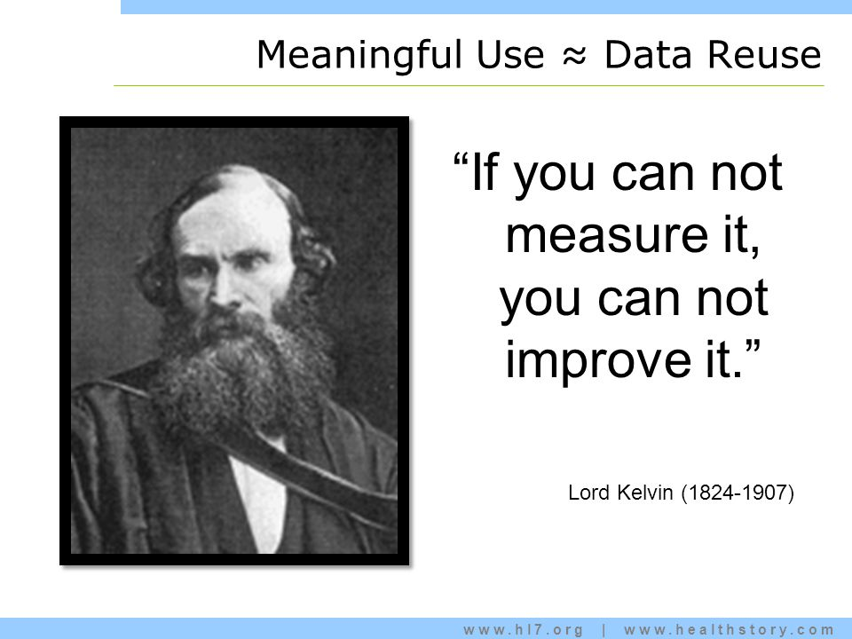 www.hl7.org | www.healthstory.com Meaningful Use ≈ Data Reuse If you can not measure it, you can not improve it. Lord Kelvin (1824-1907)