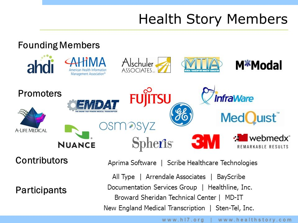www.hl7.org | www.healthstory.com Health Story Members Founding Members Participants All Type | Arrendale Associates | BayScribe Documentation Services Group | Healthline, Inc.