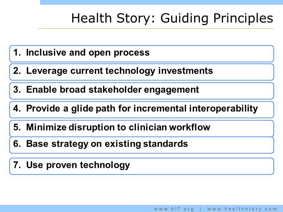 www.hl7.org | www.healthstory.com Health Story: Guiding Principles 7.