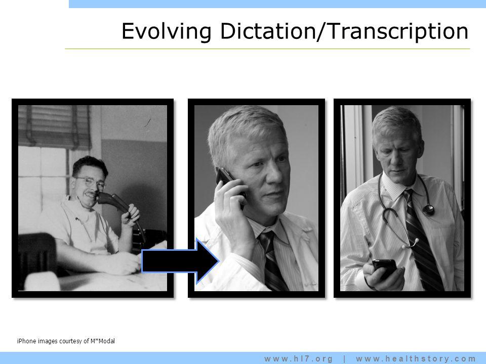 www.hl7.org   www.healthstory.com Evolving Dictation/Transcription iPhone images courtesy of M*Modal