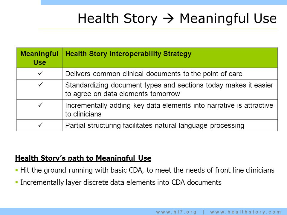 www.hl7.org | www.healthstory.com Health Story  Meaningful Use Meaningful Use Health Story Interoperability Strategy Delivers common clinical documents to the point of care Standardizing document types and sections today makes it easier to agree on data elements tomorrow Incrementally adding key data elements into narrative is attractive to clinicians Partial structuring facilitates natural language processing Health Story's path to Meaningful Use  Hit the ground running with basic CDA, to meet the needs of front line clinicians  Incrementally layer discrete data elements into CDA documents