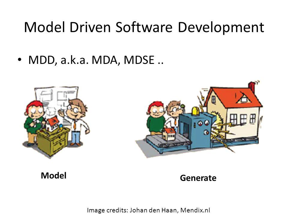 Model Driven Software Development MDD, a.k.a. MDA, MDSE..