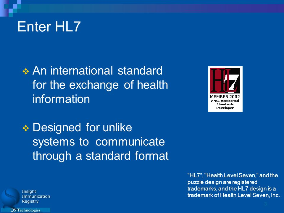 3 Enter HL7  An international standard for the exchange of health information  Designed for unlike systems to communicate through a standard format HL7 , Health Level Seven, and the puzzle design are registered trademarks, and the HL7 design is a trademark of Health Level Seven, Inc.