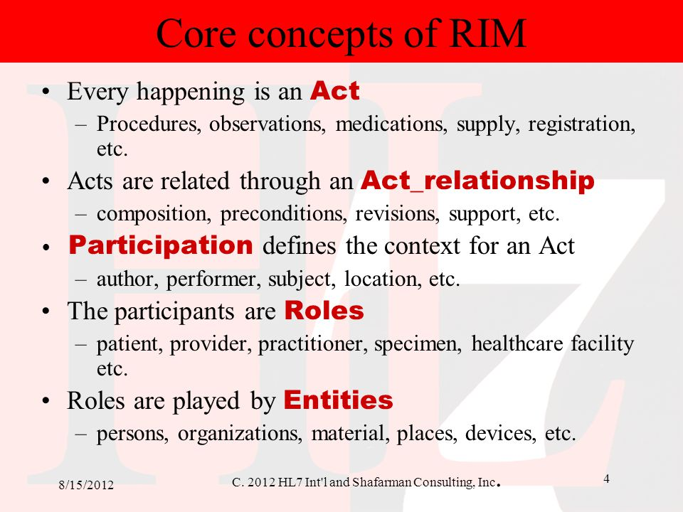 C. 2012 HL7 Int'l and Shafarman Consulting, Inc. 4 8/15/2012 Core concepts of RIM Every happening is an Act –Procedures, observations, medications, su
