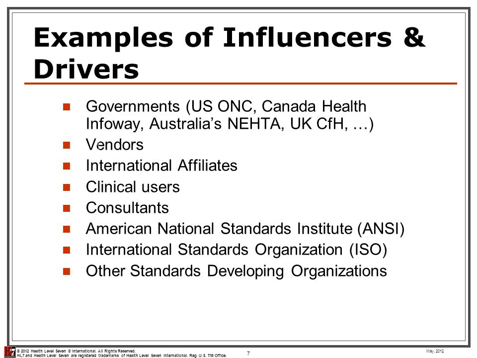 © 2012 Health Level Seven ® International.All Rights Reserved.