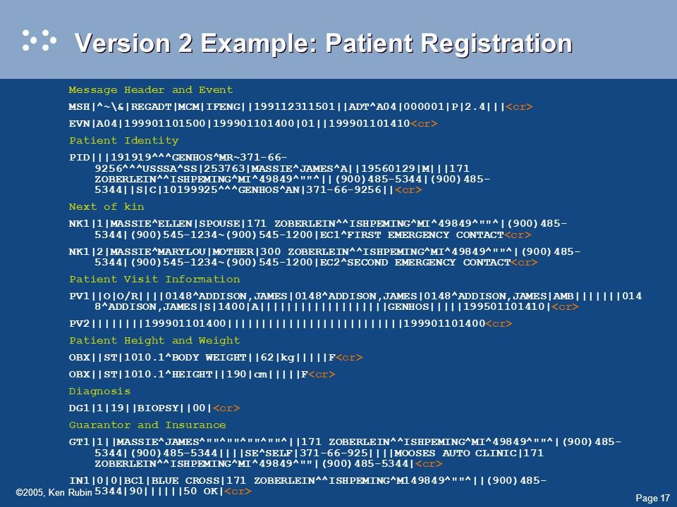 Page 17 ©2005, Ken Rubin Version 2 Example: Patient Registration Message Header and Event MSH|^~\&|REGADT|MCM|IFENG|| ||ADT^A04|000001|P|2.4||| EVN|A04| | |01|| Patient Identity PID|||191919^^^GENHOS^MR~ ^^^USSSA^SS|253763|MASSIE^JAMES^A|| |M|||171 ZOBERLEIN^^ISHPEMING^MI^49849^ ^||(900) |(900) ||S|C| ^^^GENHOS^AN| || Next of kin NK1|1|MASSIE^ELLEN|SPOUSE|171 ZOBERLEIN^^ISHPEMING^MI^49849^ ^|(900) |(900) ~(900) |EC1^FIRST EMERGENCY CONTACT NK1|2|MASSIE^MARYLOU|MOTHER|300 ZOBERLEIN^^ISHPEMING^MI^49849^ ^|(900) |(900) ~(900) |EC2^SECOND EMERGENCY CONTACT Patient Visit Information PV1||O|O/R||||0148^ADDISON,JAMES|0148^ADDISON,JAMES|0148^ADDISON,JAMES|AMB|||||||014 8^ADDISON,JAMES|S|1400|A|||||||||||||||||||GENHOS||||| | PV2|||||||| |||||||||||||||||||||||||| Patient Height and Weight OBX||ST|1010.1^BODY WEIGHT||62|kg|||||F OBX||ST|1010.1^HEIGHT||190|cm|||||F Diagnosis DG1|1|19||BIOPSY||00| Guarantor and Insurance GT1|1||MASSIE^JAMES^ ^ ^ ^ ^||171 ZOBERLEIN^^ISHPEMING^MI^49849^ ^|(900) |(900) ||||SE^SELF| ||||MOOSES AUTOCLINIC|171 ZOBERLEIN^^ISHPEMING^MI^49849^ |(900) | IN1|0|0|BC1|BLUE CROSS|171 ZOBERLEIN^^ISHPEMING^M149849^ ^||(900) |90||||||50 OK|