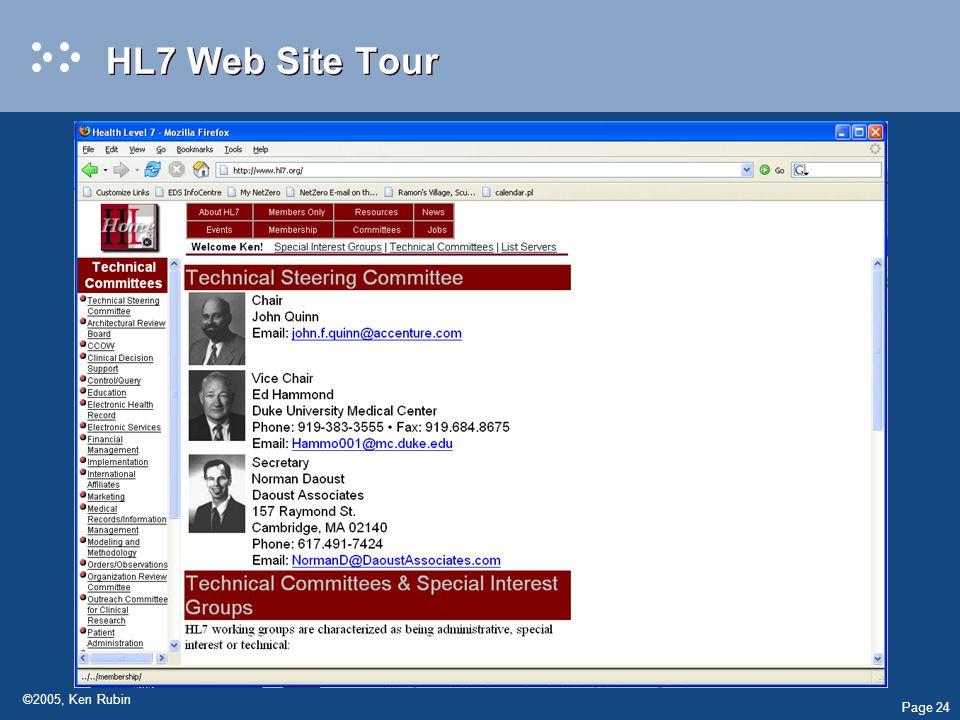 Page 24 ©2005, Ken Rubin HL7 Web Site Tour