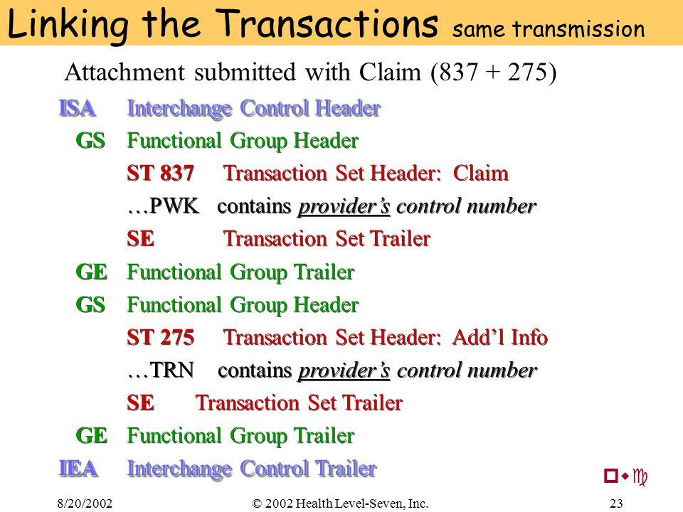 8/20/200223© 2002 Health Level-Seven, Inc. Linking the Transactions same transmission ISAInterchange Control Header GSFunctional Group Header ST 837 T