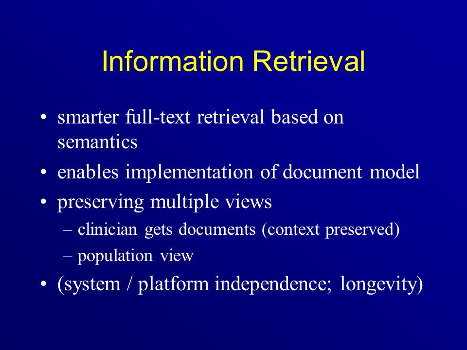 Information Retrieval smarter full-text retrieval based on semantics enables implementation of document model preserving multiple views –clinician get