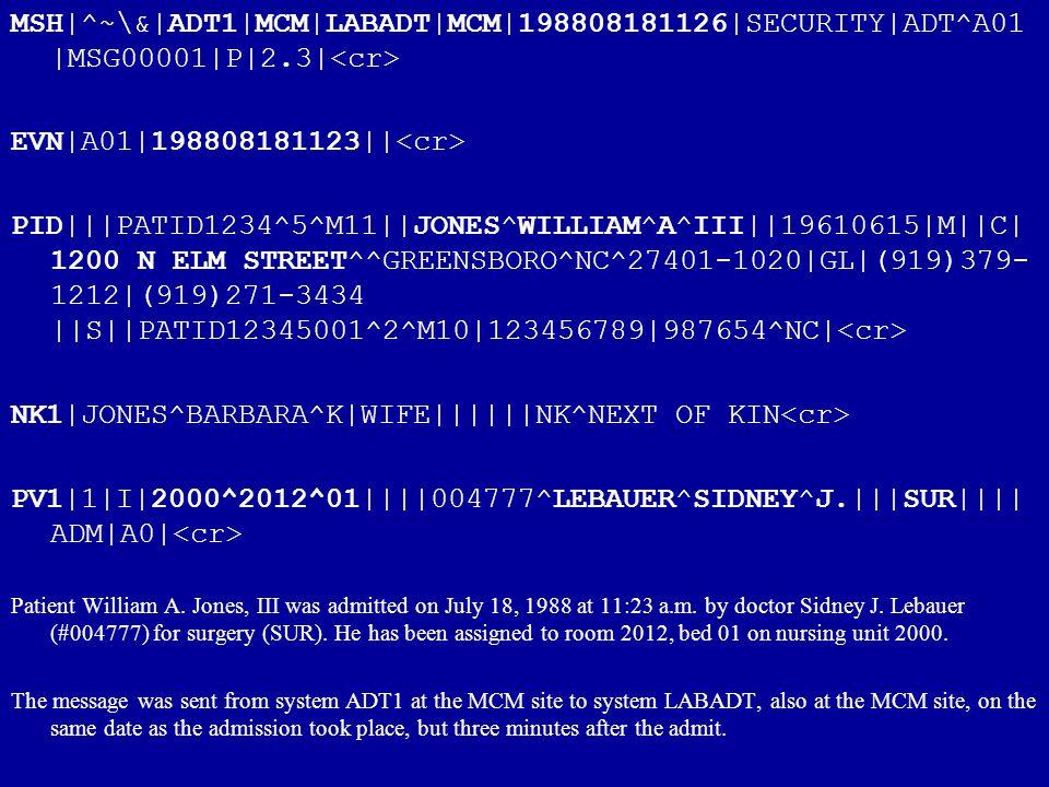 MSH|^~\&|ADT1|MCM|LABADT|MCM|198808181126|SECURITY|ADT^A01 |MSG00001|P|2.3| EVN|A01|198808181123|| PID|||PATID1234^5^M11||JONES^WILLIAM^A^III||1961061