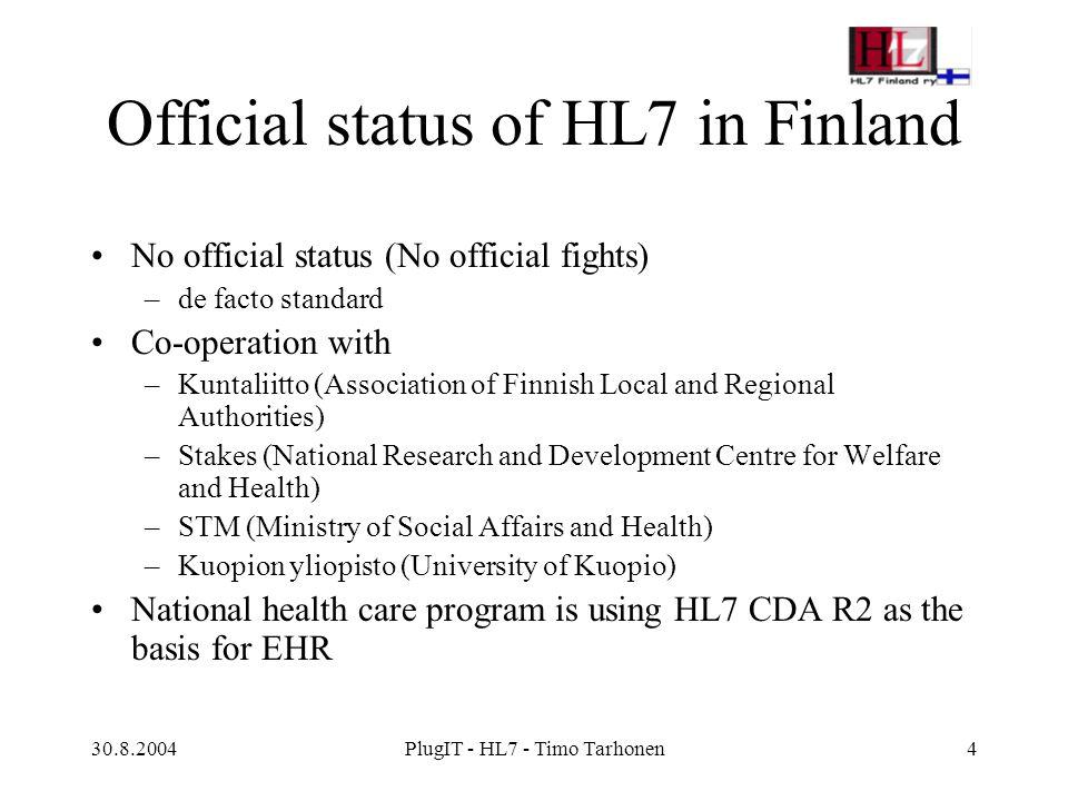 30.8.2004PlugIT - HL7 - Timo Tarhonen5 Implementation support history Localisation of version 2.3 in 1997 Implementation guides for v.