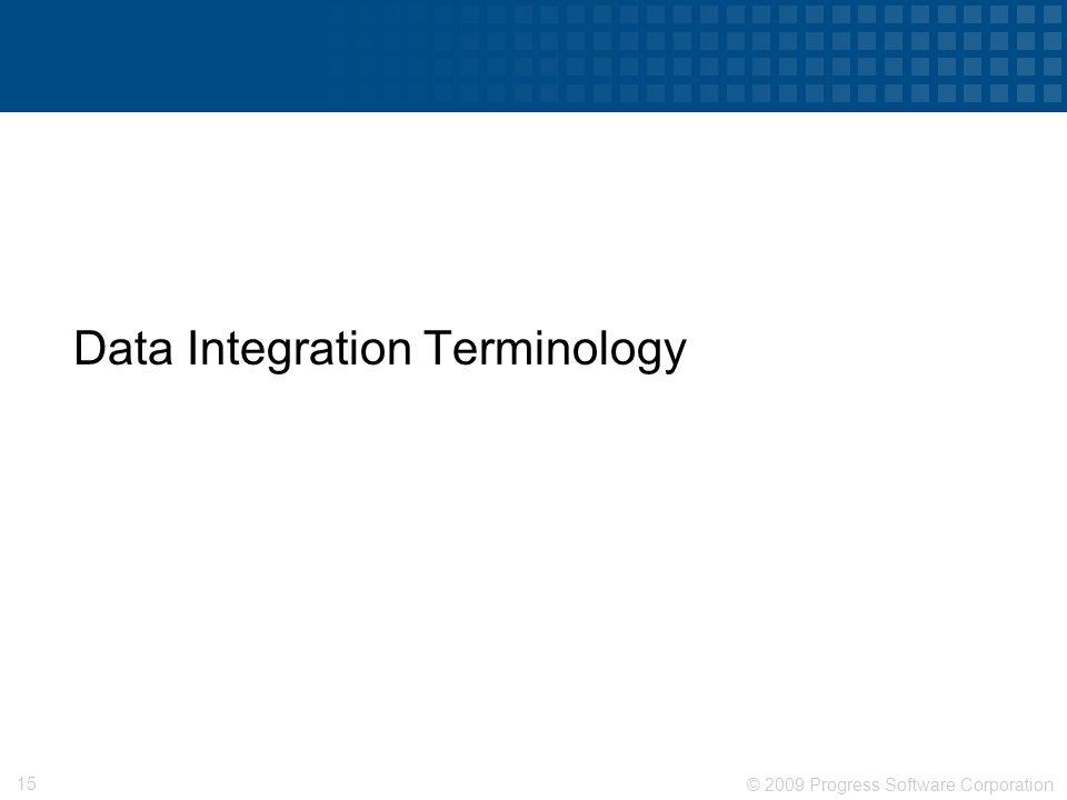 © 2009 Progress Software Corporation 15 Data Integration Terminology