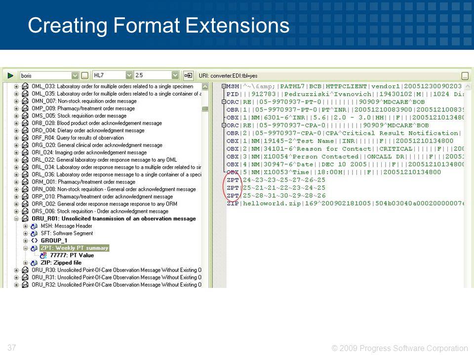 © 2009 Progress Software Corporation 37 Creating Format Extensions