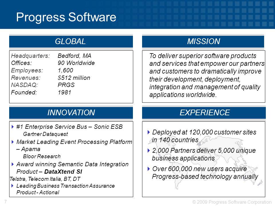 © 2009 Progress Software Corporation 7 Progress Software Headquarters: Bedford, MA Offices: 90 Worldwide Employees: 1,600 Revenues: $512 million NASDA
