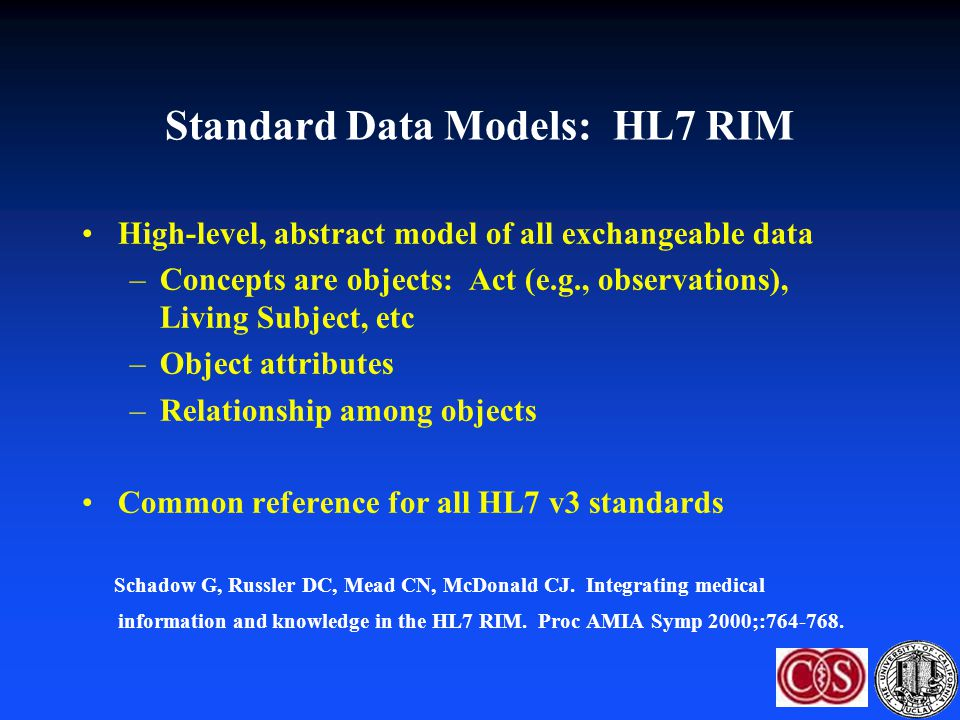Standard Data Models: HL7 RIM High-level, abstract model of all exchangeable data –Concepts are objects: Act (e.g., observations), Living Subject, etc