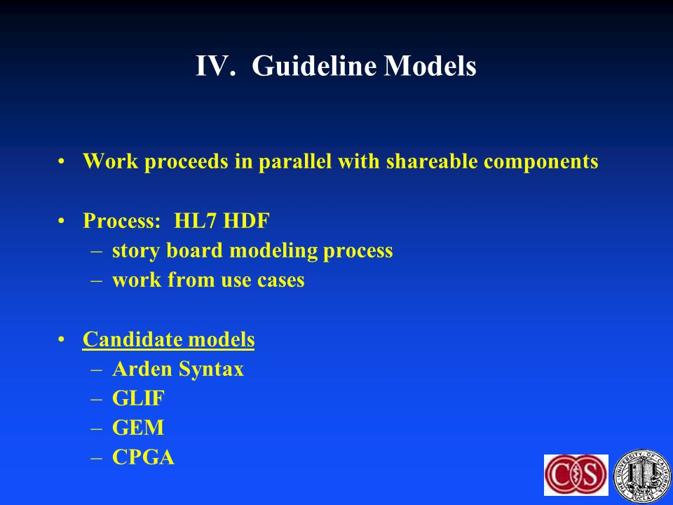 IV. Guideline Models Work proceeds in parallel with shareable components Process: HL7 HDF –story board modeling process –work from use cases Candidate