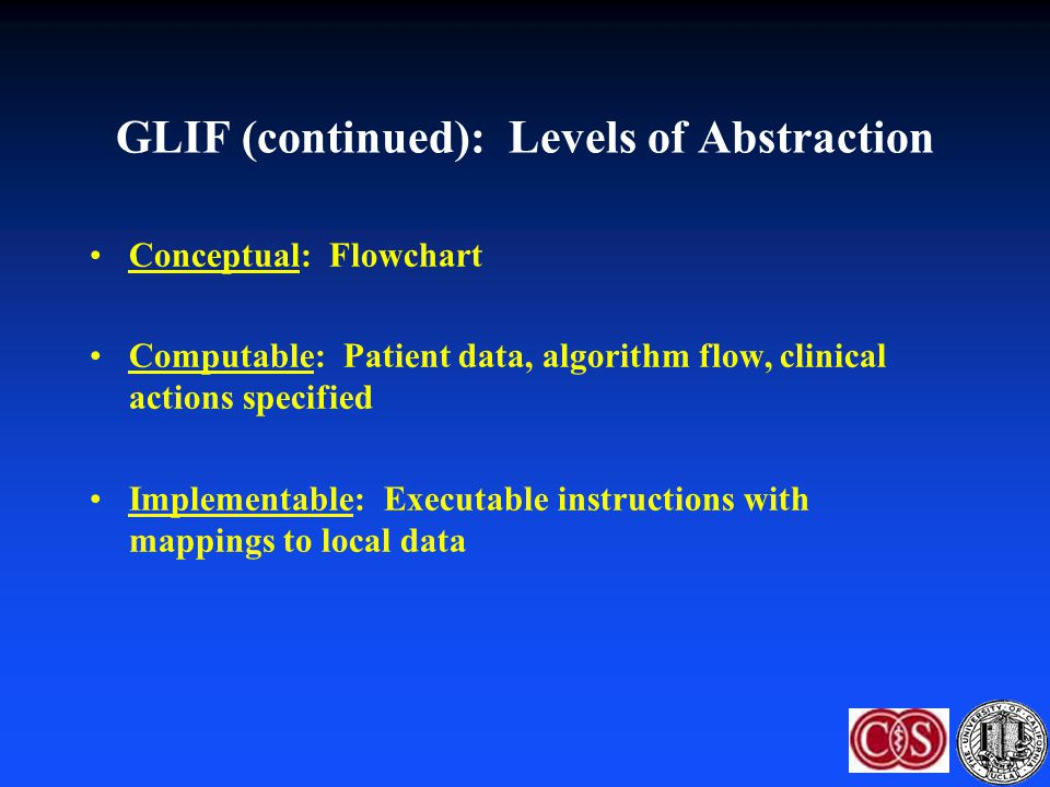 GLIF (continued): Levels of Abstraction Conceptual: Flowchart Computable: Patient data, algorithm flow, clinical actions specified Implementable: Exec