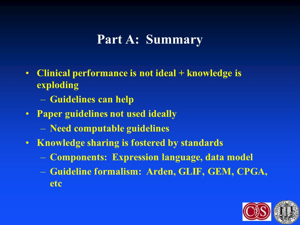 Part A: Summary Clinical performance is not ideal + knowledge is exploding –Guidelines can help Paper guidelines not used ideally –Need computable gui