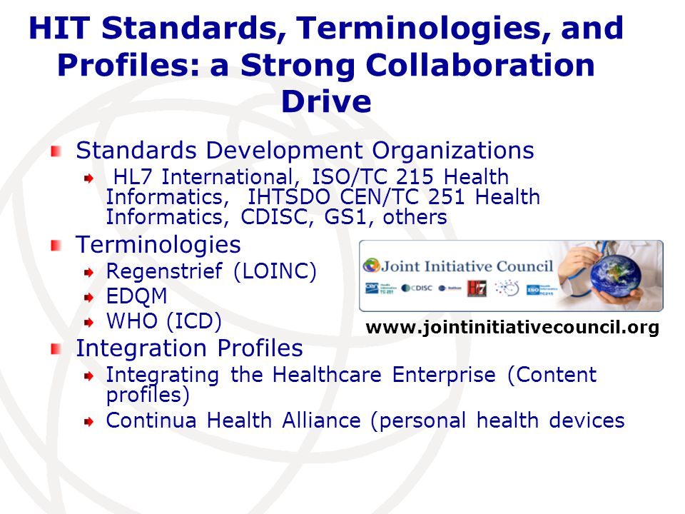 HIT Standards, Terminologies, and Profiles: a Strong Collaboration Drive Standards Development Organizations HL7 International, ISO/TC 215 Health Info