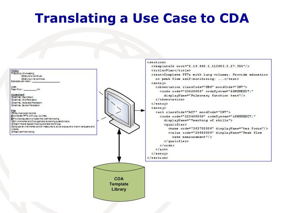 Translating a Use Case to CDA