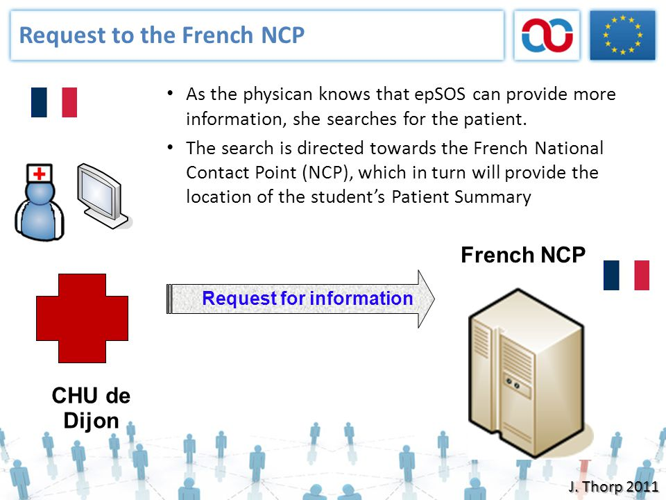 Request to the French NCP As the physican knows that epSOS can provide more information, she searches for the patient. The search is directed towards
