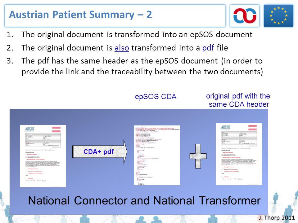 Austrian Patient Summary – 2 National Connector and National Transformer epSOS CDA original pdf with the same CDA header 1.The original document is tr