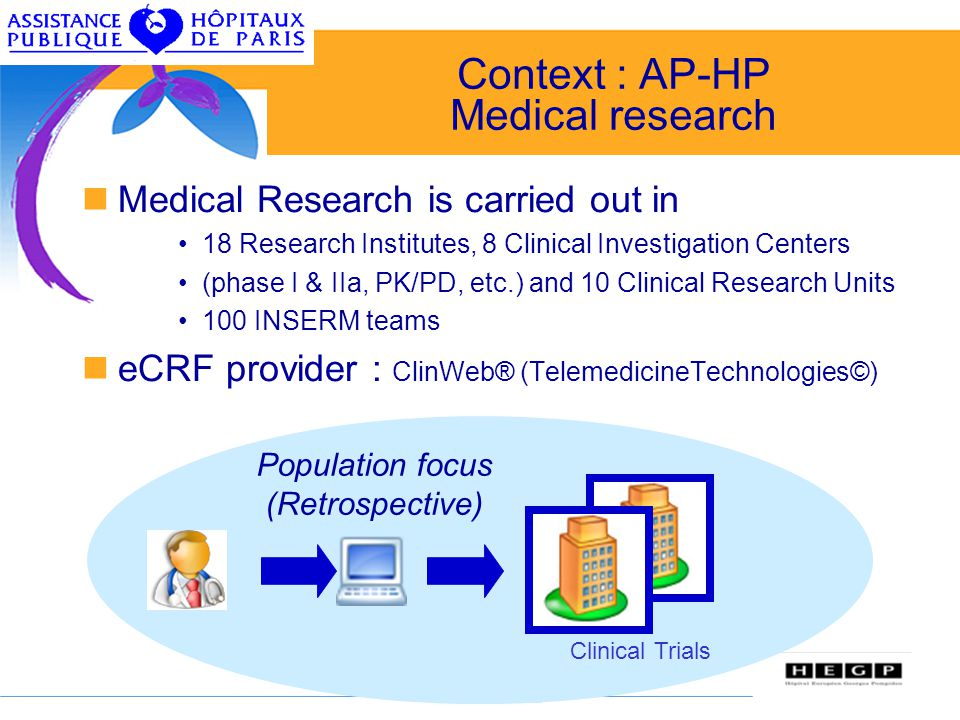 4 Context : AP-HP Medical research Medical Research is carried out in 18 Research Institutes, 8 Clinical Investigation Centers (phase I & IIa, PK/PD,