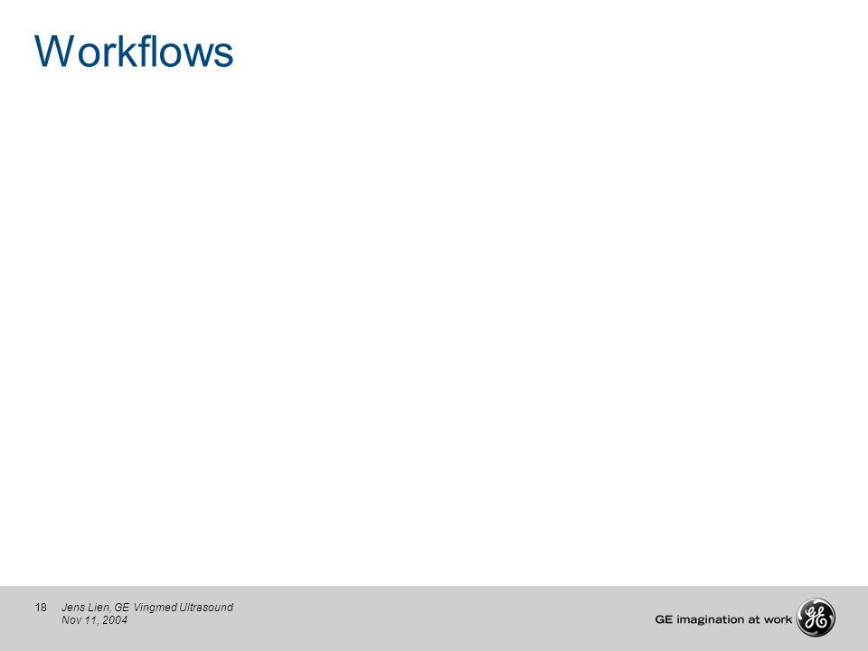 18Jens Lien, GE Vingmed Ultrasound Nov 11, 2004 Workflows